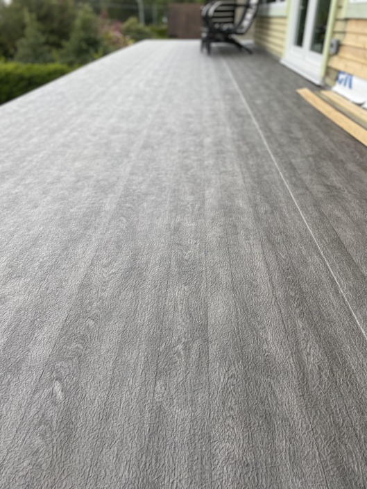 Vinyl Decking Installation - West Vancouver - 66 Mil Mahogany Plank Armor Deck Material