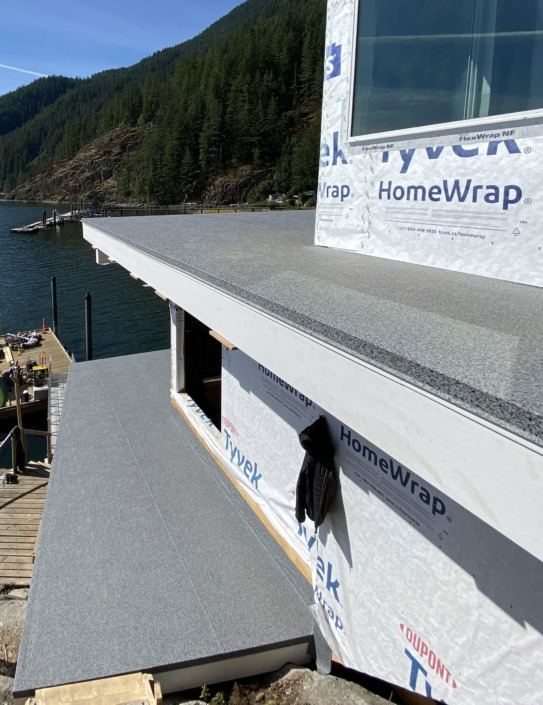 Vinyl Decking - 66-Mil Granite Rock Armor Deck - House with Two Decks - Indian Arm - North Vancouver